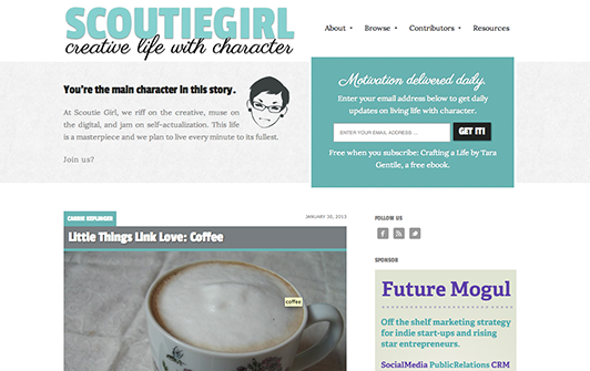 Scoutie Girl's use of white space on their homepage.
