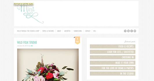 Mint Design Blog's use of white space on their home page.