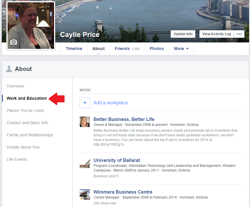Go to the 'Work and Education' section of your personal profile to add your business page.