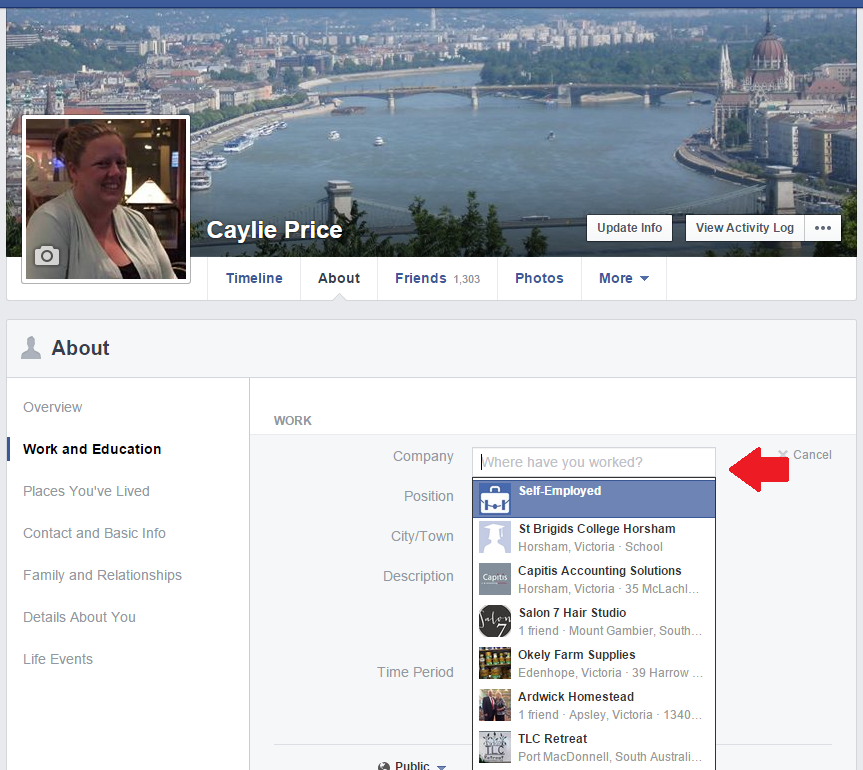 Type your Facebook business page name into the 'Add a workplace' section.