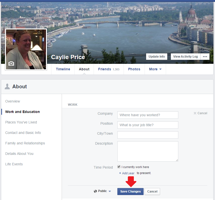 To finish connecting your Facebook business page to your profile complete the business details and click save.