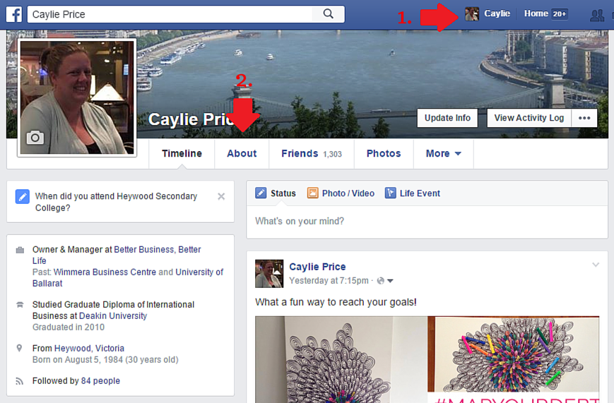Find the 'About' information on your Facebook personal profile.