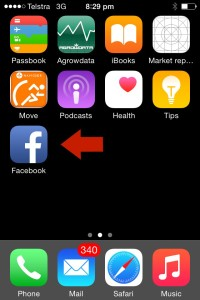 Open Facebook app iPhone