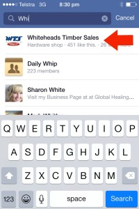 Search for the Facebook business page iPhone